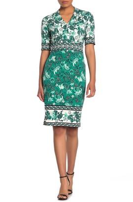 Maggy London V-Neck Elbow Sleeve Sheath Dress (Petite)