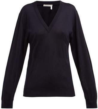 Chloé Baroque Logo Wool-blend V-neck Sweater - Womens - Navy