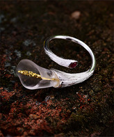 Lotus Fun Women's Rings Silver - Crystal & Sterling Silver Lily Bypass Ring