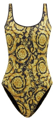 Versace Baroque-print Scoop-back Swimsuit - Black Print