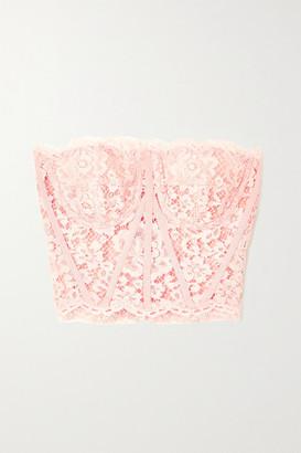 Dolce & Gabbana Grosgrain-trimmed Cotton-blend Corded Lace Bustier Top - Pink