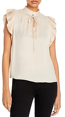 Frame Pleated Sleeve High Neck Top