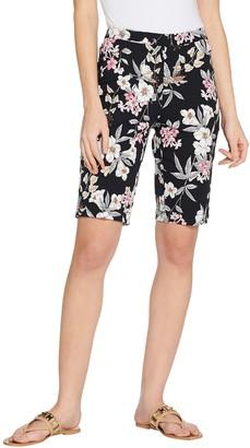 Isaac Mizrahi Live! Petite 24/7 Stretch Tropical Floral Bermuda Shorts