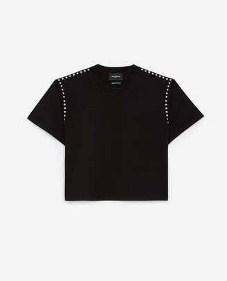 The Kooples Black cotton T-shirt with studs