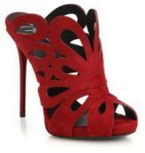 Giuseppe Zanotti Floral-Cutout Suede Mule Sandals