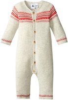 Petit Bateau Romper With Jacquard (Baby) - Beige/Red - 0-3 Months