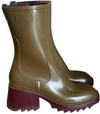 Chloé Betty Khaki Rubber Boots
