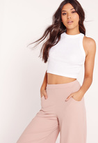 Missguided Racer Crop Top White
