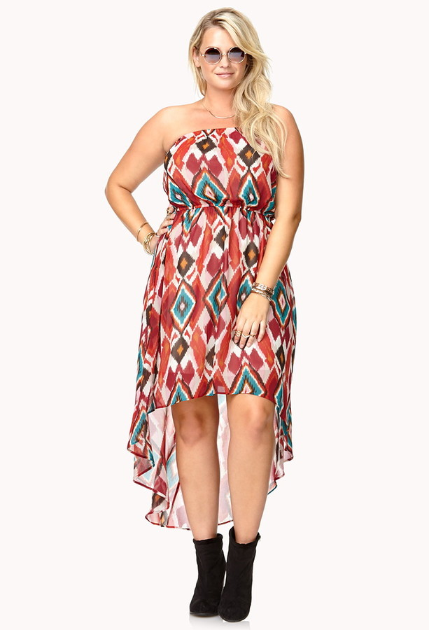 Forever 21 FOREVER 21+ Watercolor Ikat High-Low Dress