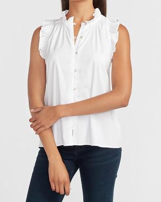 Express Ruffle Button Front Sleeveless Shirt