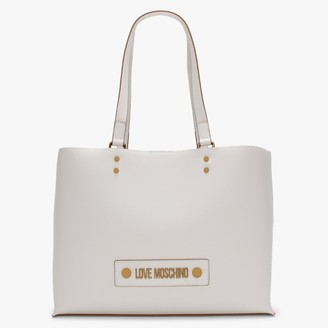 Love Moschino Studded Logo White Tote Bag