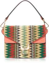 Coccinelle Ambrine Etno Multicolor Canvas and Coral Leather Crossbody Bag