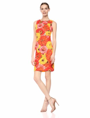 Calvin Klein Women's Sleeveless Scuba Starburst Sheath Dress