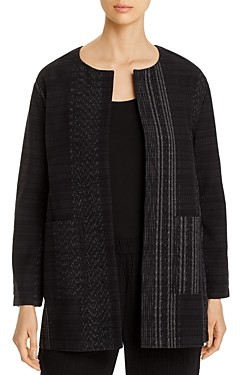 Eileen Fisher Cotton Textured Open-Front Long Jacket - 100% Exclusive