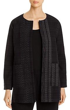 Eileen Fisher Petites Cotton Textured Open-Front Long Jacket - 100% Exclusive