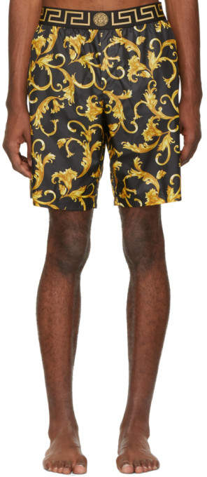 Versace Underwear Black and Yellow Brocade Swim Shorts