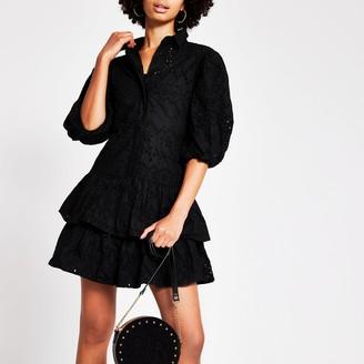 River Island Womens Black broderie puff sleeve shirt dress