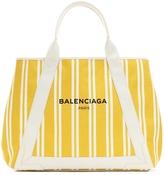 Balenciaga Navy Cabas M striped canvas shopper