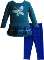 Sweet Heart Rose Teal Butterfly Skirted Tunic & Blue Leggings - Infant