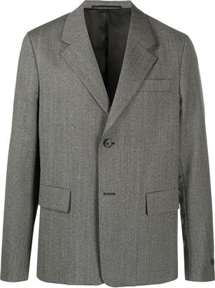 Prada Single-Breasted Herringbone Jacket