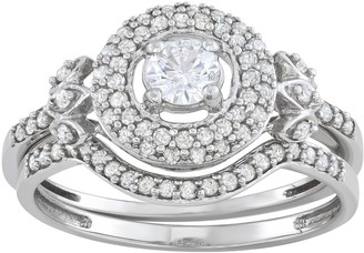 10k White Gold 5/8 Carat T.W. Diamond Halo Engagement Ring Set