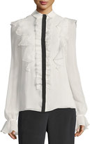Giambattista Valli Ruffled Georgette Blouse