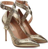 Valentino Metallic Leather Cross-Front Pumps