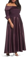 Eliza J Plus Size Women's Off The Shoulder Mixed Media Gown