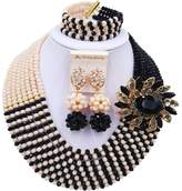 laanc Women 8 Lines Black and Multicolor Gradient Crystal African Beads Nigerian Wedding Jewelry Sets