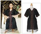 Embroidered Cotton Dress, 'Thai Tribal in Black'
