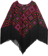 Anna Sui Fringed Embroidered Mesh Poncho