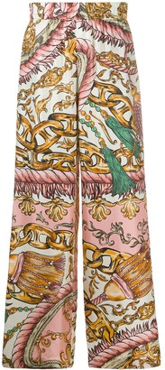 Moschino Chain-Print Silk Trousers