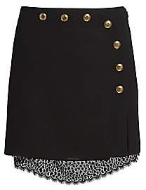 Givenchy Women's Lace & Button-Embellished Wool Mini Skirt