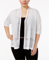 Charter Club Plus Size Pointelle-Trim Cardigan, Created for Macy's