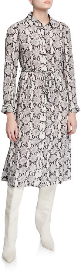 T Tahari Snakeskin-Print Button-Down Shirtdress