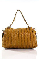 Cole Haan Orange Faux Leather Sewn Quilt Pattern Shoulder Handbag Size Medium