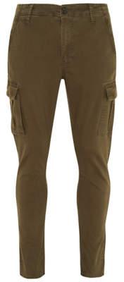 George Khaki Washed Slim Fit Denim Cargo Trousers