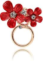 SENFAI New Fashion Two Beautiful Litte Red Flower Magnetic Eyeglass Holder (rose gold)