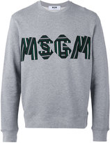 MSGM logo embroidered sweatshirt - men - Cotton/Viscose - S