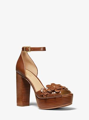 Michael Kors Flora Applique Leather Platform Sandal