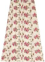 Gucci Rose print silk skirt
