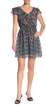Bobeau Flutter Sleeve Smocked Dress