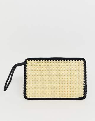 Asos Design DESIGN straw clutch bag with handle-Brown