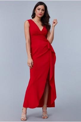 Linzi Goddiva Scuba Crepe Frill Maxi Dress