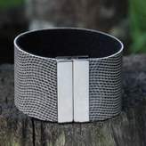 Black and White Faux Leather Wristband Bracelet from Brazil, 'Urban Hypnotic'