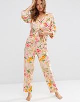Asos Floral Bloom Traditional Shirt & Long Leg Pajama Set
