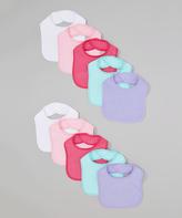 Luvable Friends Purple & Pink Bib Set