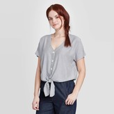 Universal Thread Women's Short Sleeve V-Neck Button-Front Tie Front Top - Universal ThreadTM