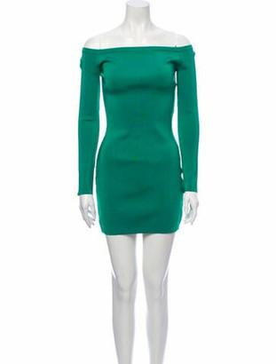 Balmain Off-The-Shoulder Mini Dress Green