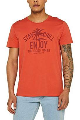 Esprit edc by Men's 059cc2k017 T-Shirt, (Rust Orange 810), Small